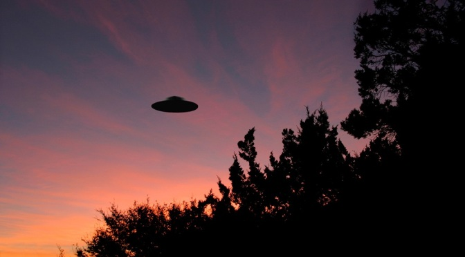 C898WA Sinister looking UFO at sunrise