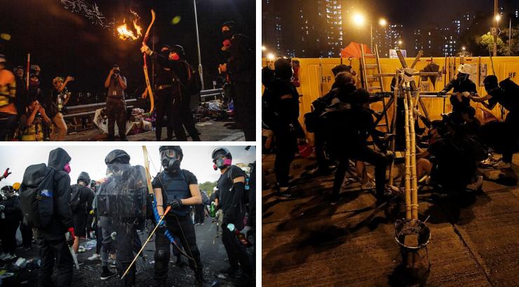 UPDATES - Hong Kong Protests   Hong-kong-protesters-catapults-flaming-arrows-javelins-police